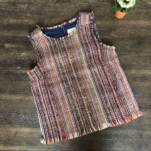 Maeve tweed sleeveless colorful top fringe EUC